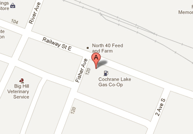 We're located at 205 Railway St. & Fisher Ave. Cochrane, AB T4C 2C3